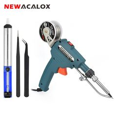 NEWACALOX EU/US Hand-held Internal Heating Soldering Iron Automatically Send Tin Gun Soldering Station Welding Repair Tool. Power: Internal heating soldering gun,It can prevent users from being burnt by high temperature. Soldering Tools, Soldering Jewelry, Soldering Iron, Welding Equipment, Tool Kit, Flashlight, Consumer Electronics, Hold On, Guns