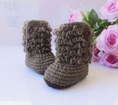 handmade brown baby shoes / baby boots / baby booties / newborn shoes 0-12months Etsy shop: rose tan