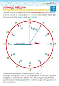 Teach children to read the time- Insegnare ai bambini a leggere l'ora didactic card to teach children to read the time - Preschool Worksheets, Preschool Learning, Math Activities, Primary Maths, Primary School, Teaching Time, Teaching Math, Algebra, Italian Lessons