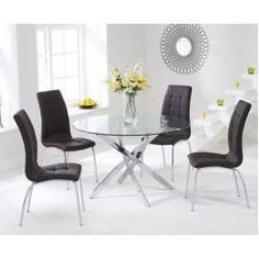 Mark Harris Daytona Glass Round Dining Table with 4 California Brown Dining Chairs Black Dining Chairs, Dining Table Chairs, Dining Area, Space Saving Dining Table, Oak Furniture Superstore, Glass Round Dining Table, Round Glass, Clear Glass, Dining Furniture Sets