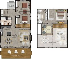 Great layout and master suite with loft. Could easily remove bedroom 3 for less sq ft. Manitoulin Floor Plan Great layout and master suite with loft. Could easily remove bedroom 3 for less sq ft. Plans Loft, Cabin Plans With Loft, Loft Floor Plans, Cabin Loft, House Plan With Loft, Cottage Floor Plans, Bedroom Floor Plans, Cottage Plan, Loft House