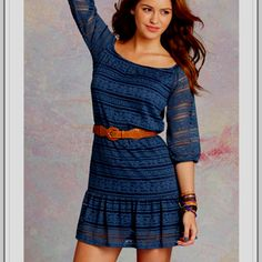 Love it! Dark blue crotchet dress,black wedges would be perfect for these!! From delias!