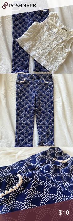 "Royal Blue & White 2 Pc Tank and Jeggings Royal Blue & White 2 pc Set. Pants are a size 3T. They have a cute design on pants and a lace type design on trims of pants. The top is a size 4T. Don't be alarmed! Shirt runs small and is somewhat a ""crop top"" style, so at the time I had bought the shirt a size bigger to coincide with the pants. Genuine Kids by Oshkosh Matching Sets"