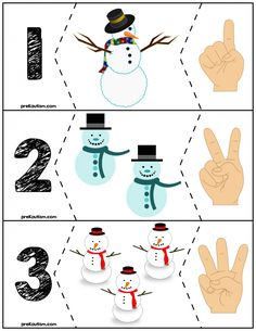 Teach counting skills with these snowmen! Great for teaching counting skills and number recognition for Quick prep and great for math centers! Numbers Preschool, Preschool Learning, Kindergarten Math, Teaching, Preschool Prep, Autism Activities, Winter Activities, Christmas Activities, Snow Theme
