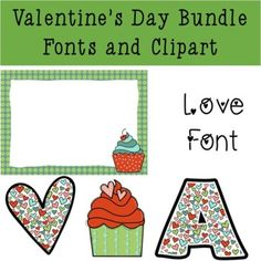 Valentine's Day Bundle - Fonts, Backgrounds, and Clipart by Mrs Irish Seashell
