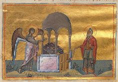 Annunciation to Zacharias. Menologion of Basil II, Menologion of Basileiou - century illuminated byzantine manuscript with 430 miniatures, now in Vatican library (Vaticanus graecus Book In Latin, Vatican Library, St Basil's, Life Of Christ, Book Of Kells, Byzantine Art, Book Of Hours, 11th Century, Illuminated Manuscript