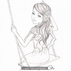 Sketch Face Helen Huang sketch - girl on a swing Disney Drawings Sketches, Pencil Drawings Of Girls, Pencil Sketch Drawing, Girly Drawings, Sketchbook Drawings, Art Drawings Sketches Simple, Sketching, Cute Easy Drawings, Art Drawings Beautiful