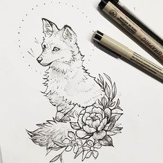 Quick foxy sketch that could be polished into a tattoo! #animaltattoo #floraltattoo #inktober #foxtattoo #foxes