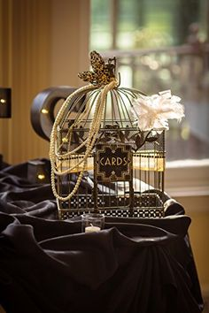 Buy Vintage Bird Cage, Rectangular, 14 in. & 17 in., Black & Gold, Set of 2 - Topvintagestyle.com ✓ FREE DELIVERY possible on eligible purchases