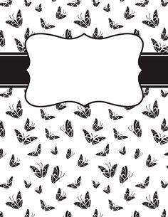 Free printable black and white butterfly binder cover template. Download the cover in JPG or PDF format at http://bindercovers.net/download/black-and-white-butterfly-binder-cover/