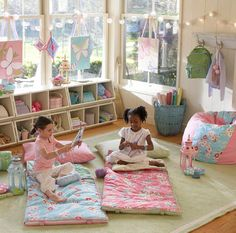 Playroom idea. I like the idea of hanging lanterns or stringing lights.