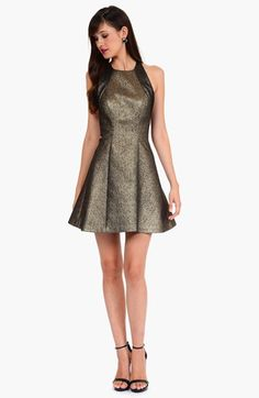 metallic bronze party dress