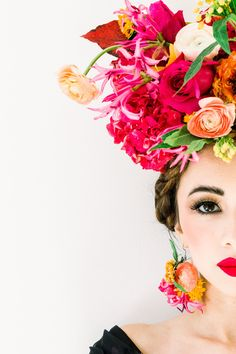 In honor of Frida Kahlo, scenes from a creative photo shoot in Atlanta GA Team: Photography- 4 Corners Photo Florals- Amanda Jewel Floral and Design Makeup and Hair- Anne Timss Floral Headdress, Flower Headpiece, Editorial Hair, Hair Rings, Floral Crown, Bride Hairstyles, Bridal Make Up, Her Hair, Floral Design
