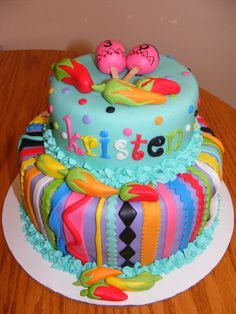 Fiesta Birthday Cake   mexican fiesta birthday i was asked to do a cake for a 30th birthday ...