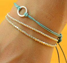 Beaded  bracelet . Sterling silver