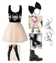 """Pastel Goth"" by pastel-gothy ❤ liked on Polyvore featuring Moschino, Dr. Martens, Boohoo, Sneaky Fox and Kasun"