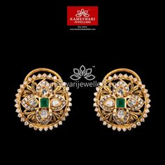 Mesmerizing collection of gold earrings from Kameswari Jewellers. Shop for designer gold earrings, traditional diamond earrings and bridal earrings collections online. Diamond Earrings Indian, Gold Jhumka Earrings, Buy Earrings, Earrings Online, Gold Necklace, 18k Gold Jewelry, Mom Jewelry, Gold Jewellery Design, Cz Jewellery