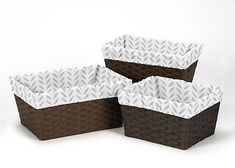 Boxes and Storage 117398: Grey Leaf Print Organizer Storage Kid Basket Liners Fits Small Medium Large Bins -> BUY IT NOW ONLY: $34.99 on eBay!