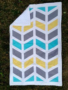 Modern Crib Quilt - Bright Chevron Baby Blanket