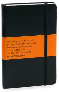 Moleskine journal.  An absolute must for writing.  Jotting ideas.  Brainstorming.  Poetry.  #moleskine