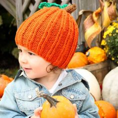 Free knitting pattern for this adorable pumpkin hat.