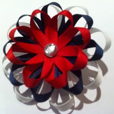 Red Navy and White Ribbon Flower Hair Bow by creativecaitlin, $3.00