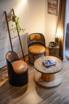 Points To Think About Just Before Acquiring Your Company's Logo Built By A Model Style And Design Agency - Home Decor Ideas Barrel Furniture, Metal Furniture, Diy Furniture, Furniture Design, Refinished Furniture, Vintage Industrial Furniture, Recycled Furniture, Industrial Lamps, Reclaimed Furniture