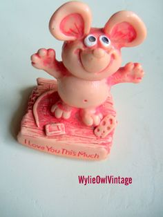 Vintage I Love You This Much Pink Mouse Statue by WylieOwlVintage, $6.00