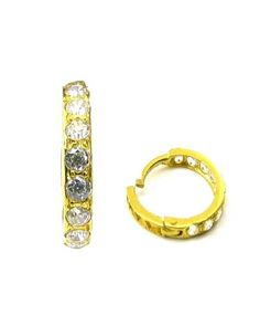 Ethnic Indian Solid Casting White CZ Piercing Nose Hinged Hoop Ring 14k Yellow Gold