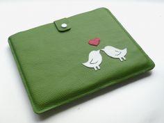 Tablet-/Notebook-Tasche aus Leder liebende Vögel verliebt, Liebespaar, Antrag, Hochzeit, Verlobung, Valentinstag, Jahrestag, Geschenk, Weihnachten