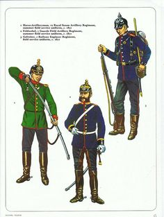 1:Horse-Artilleryman,12 Royal Saxon Artillery Regiment,summer field service uniform,c.1871.2:Feldwebel,1 Guards Field Artillery Regiment,summer field service uniform,c.1871.3:Gefreiter,1 Railway Engineer Regiment,field service uniform,c.1871.