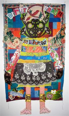 FOLK ART Altered Fabric Quilt Collage Assemblage by mybonny, $125.00