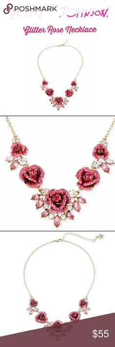 Betsey Johnson Glitter Rose Necklace Who couldn't love this Betsey piece?  See other listing for matching stud earrings.  Cable chain necklace featuring glittering roses surrounded by sparkling rhinestones!  Lobster Claw clasp.  Just stunning!  Absolutely collectible.  Brand new with tags, non-smoking home, pet free zone. Betsey Johnson Jewelry Necklaces