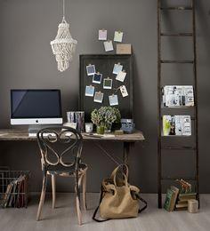 Old chair, Mac, a ladder used as a magazine rack, pantone swatches, dark tones - ahhh heaven!