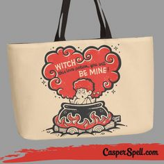 Vintage Valentines Day Card Style Retro Bag Accessories Spooky Witch Love Potion Stupid Cupid Cauldron Magick Whimsical Magical (www.CasperSpell.com)
