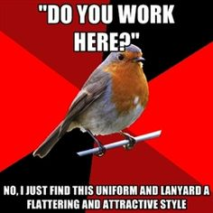 """do you work here?"" no, I just find this uniform and lanyard a flattering and attractive style - Retail Robin 