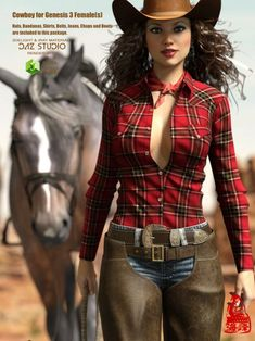 Cowboy for DAZ by RainbowLight comes with everything a cowgirl needs: bandana, belt, boots, chap Cowboy Outfits For Women, Sexy Cowgirl Outfits, Rodeo Outfits, Fall Outfits, Clothes For Women, Cowgirl Look, Cowboy Girl, Hot Country Girls, Country Girls Outfits