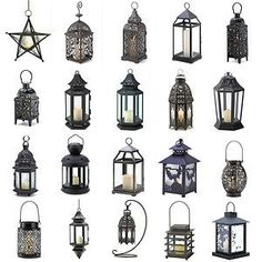 Metal Hanging or Tabletop Candle Lanterns Moroccan Style Candleholders Black Sil | eBay: