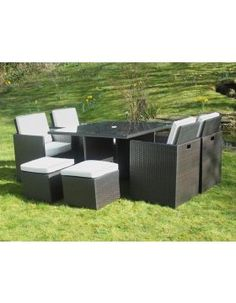 The 4 armchairs have a flip back that offer additional back support. Stools can be used as footstools or as an additional seat. This set can sit 4 people in luxurious comfort or cater for a party of 8 with the stool Outdoor Furniture Sets, Outdoor Decor, Armchairs, Dining Set, Stools, Rattan, Cube, Patio, Luxury