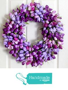 Purple tulip spring wreath Spring wreath for front door by Leopard Spring Front Door Wreaths, Spring Wreaths, Purple Tulips, Wedding Wreaths, Easter Wreaths, Summer Wreath, Mother Day Gifts, Garland, Floral Wreath