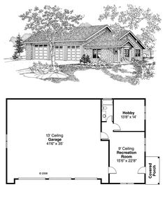3 Car Garage Plan 59464 | This garage can house up to 6 cars, or 1 RV and 4 cars. One the right side of the garage is a recreation room. There is also a hobby room and full bathroom. #garageplan