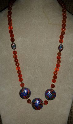 Vintage Chinese Red Carnelian Cloisonne 24-inch Necklace SILVER Filigree Clasp