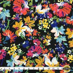 """Painted Flowers Spandex Fabric SALE 4Way Stretch Lycra Knit By The Yard 58"""" Wide by BigFabricDeals on Etsy https://www.etsy.com/listing/270712443/painted-flowers-spandex-fabric-sale-4way"""