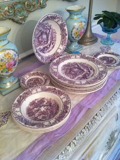 lavender purple toile transferware - photo #30