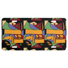 Funny Dachshund Art Abstract License Plate #dachshunds #dogs #license #plates #animals And www.zazzle.com/petspower*