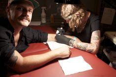 Minka Sicklinger at the PL Tattoo Parlor at Milk Studios