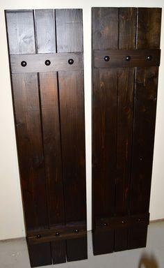 Items similar to AVAILABLE: Cedar Shutters with Decorative Clavos / Cedar Board & Batten Shutter / exterior shutters / stained shutters / board and batten on Etsy Outdoor Shutters, Cedar Shutters, House Shutters, Diy Shutters, Exterior Shutters, Outside Shutters, Rustic Shutters, Exterior Paint, Board And Batten Exterior