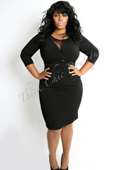 Executive Mesh Trim Dress by Thick Chic Boutique
