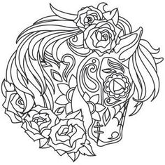 The Latest Trend in Embroidery – Embroidery on Paper - Embroidery Patterns Adult Coloring Pages, Horse Coloring Pages, Printable Coloring Pages, Colouring Pages, Coloring Sheets, Coloring Books, Colorful Drawings, Colorful Pictures, Paper Embroidery