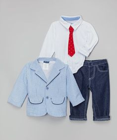 Look at this #zulilyfind! Blue Stripe Blazer Set - Infant by Nannette Baby #zulilyfinds